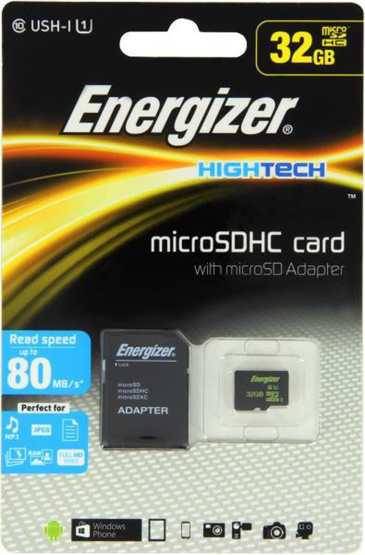 Energizer MicroSDHC Class10 UHS-I 32GB карта памяти с адаптером карта памяти в самсунг