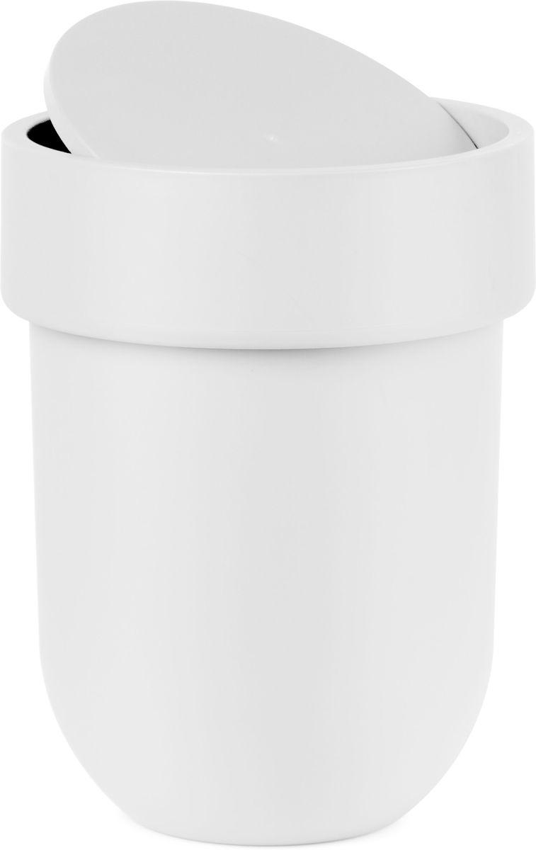 Контейнер мусорный Umbra Touch, с крышкой, цвет: белый, 25,4 х 19 х 19 см контейнер мусорный touch umbra контейнер мусорный touch