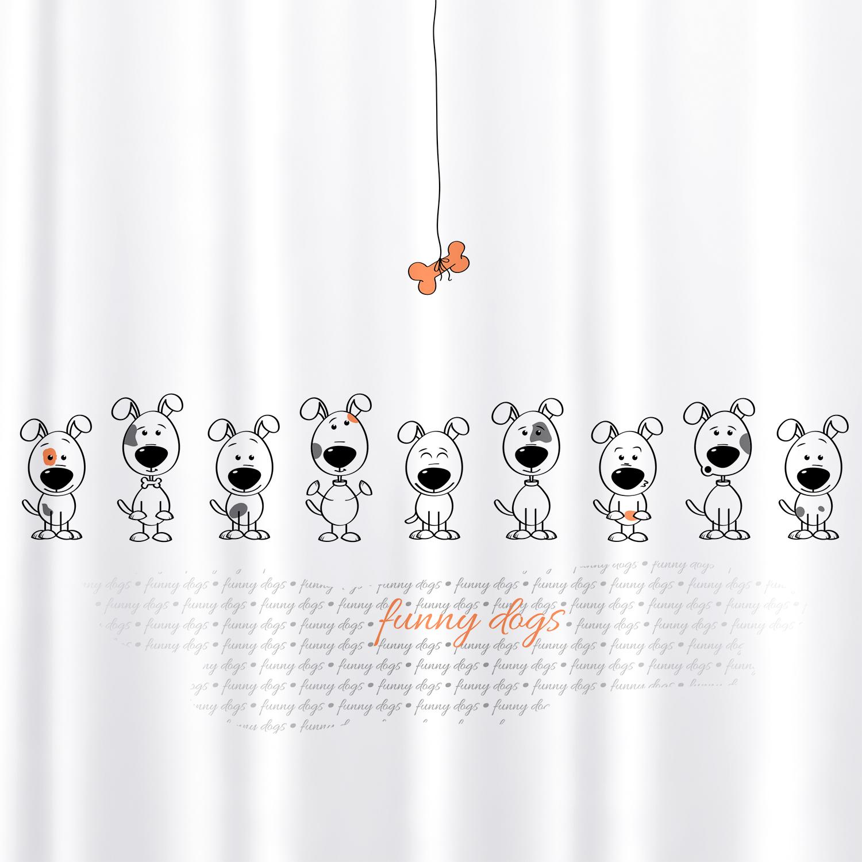 Фото - Штора для ванной комнаты Tatkraft Funny Dogs, с кольцами, 180 х 180 см штора для ванной комнаты tatkraft stone garden 180 х 180 см
