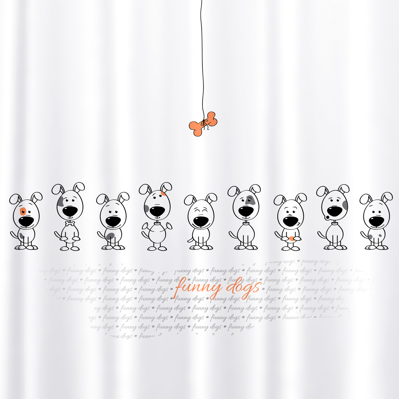 Фото - Штора для ванной комнаты Tatkraft Funny Dogs, с кольцами, 180 х 180 см шторка для ванной tatkraft seagull цвет белый синий 180 см х 180 см