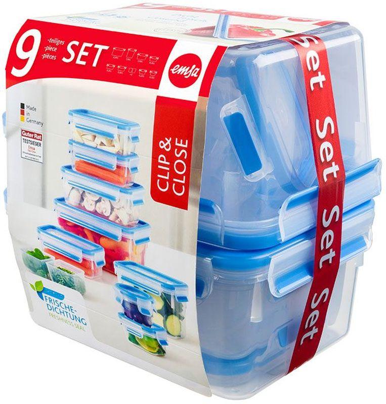 """Набор контейнеров Emsa """"Clip&Close"""", цвет: прозрачный, голубой, 9 предметов"""