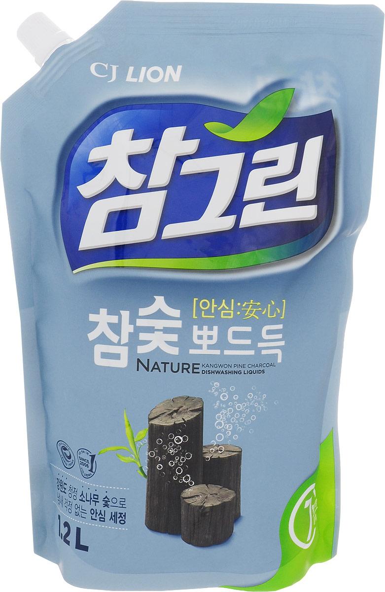 """Средство для мытья посуды Cj Lion """"Chamgreen"""", с экстрактом древесного угля, 1,15 л"""