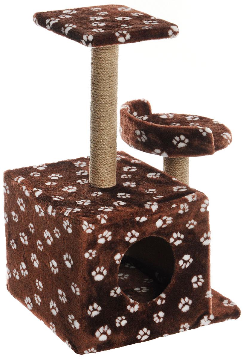Игровой комплекс для кошек Меридиан, с домиком и когтеточкой, цвет: темно-коричневый, белый, бежевый, 35 х 45 х 75 см игровой комплекс для кошек меридиан с домиком и когтеточкой цвет светло коричневый бежевый 35 х 45 х 75 см