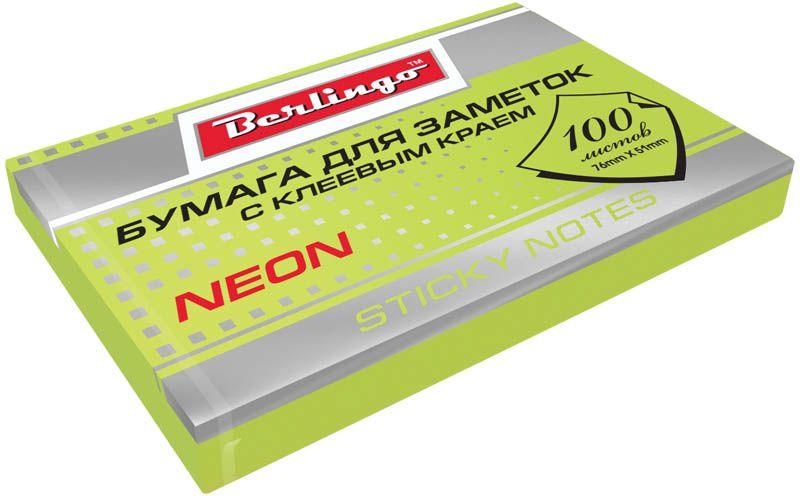 Berlingo Бумага для заметок с липким краем Neon 7,6 х 5,1 см цвет зеленый 100 листов berlingo бумага для заметок с липким краем 7 6 х 5 1 см цвет голубой 100 листов