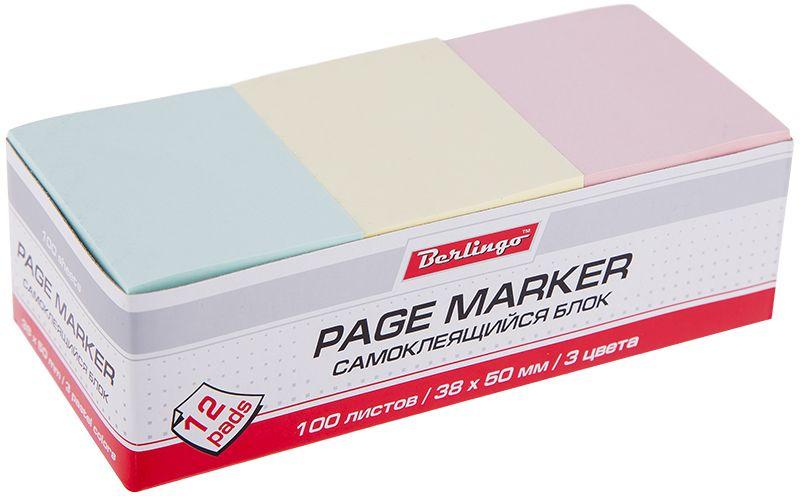 Berlingo Бумага для заметок с липким слоем 3,8 х 5 см цветная 12 блоков по 100 листов berlingo бумага для заметок с липким краем neon 7 6 х 7 6 см 400 листов