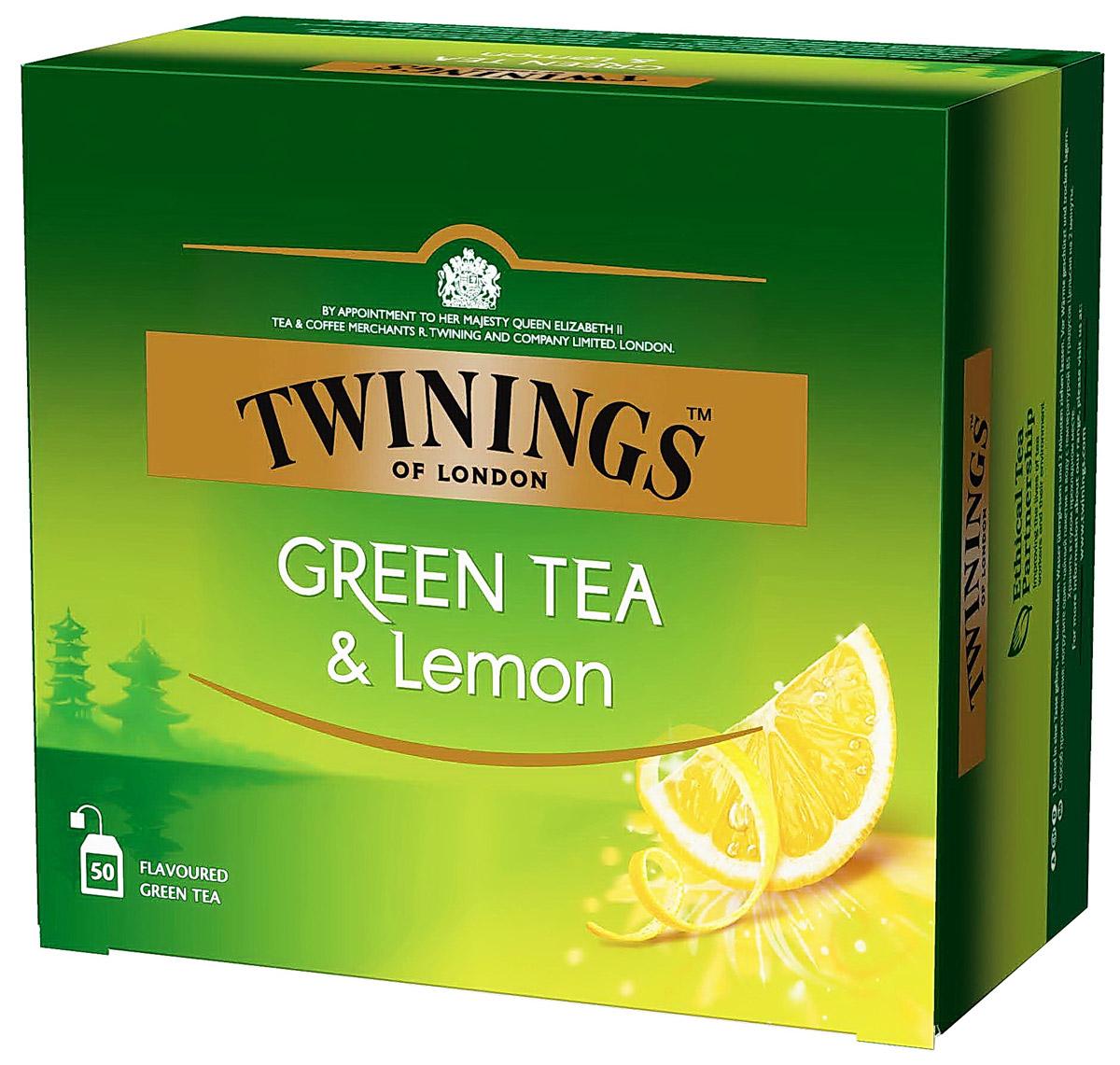 цена на Twinings Green Tea & Lemon зеленый чай с цедрой лимона в пакетиках, 50 шт