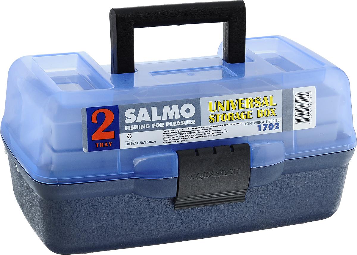 Ящик рыболовный Salmo, двухполочный, цвет: голубой