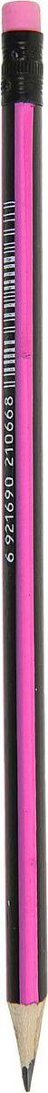 Карандаш чернографитный с ластиком цвет корпуса черный розовый карандаш чернографитный полоски с ластиком твердость hb цвет корпуса фуксия