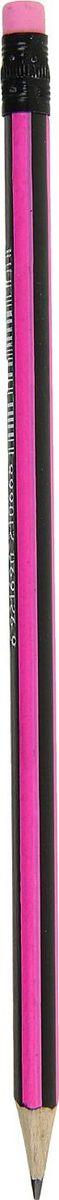 Карандаш чернографитный с ластиком цвет корпуса розовый черный карандаш чернографитный полоски с ластиком твердость hb цвет корпуса фуксия
