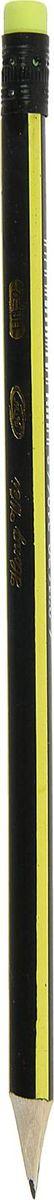 Карандаш чернографитный с ластиком цвет корпуса желтый черный карандаш чернографитный полоски с ластиком твердость hb цвет корпуса фуксия