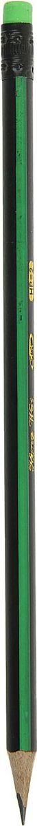 Карандаш чернографитный с ластиком цвет корпуса зеленый черный карандаш чернографитный полоски с ластиком твердость hb цвет корпуса фуксия
