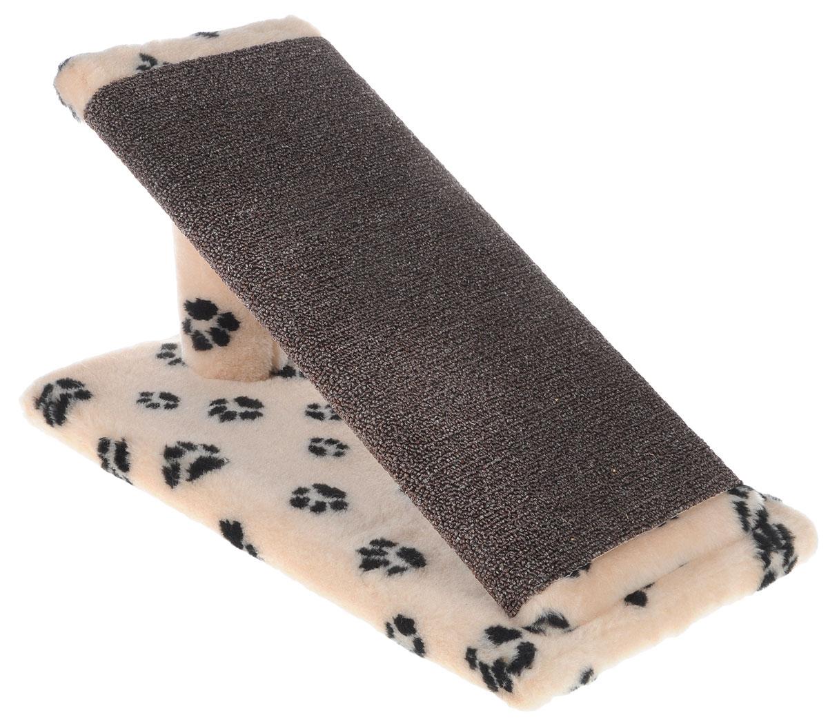 Меридиан, Когтеточка для котят Горка, ковролин, рис.Лапки (бежевый фон, черный рисунок), 45 х 25 х 25 см цена