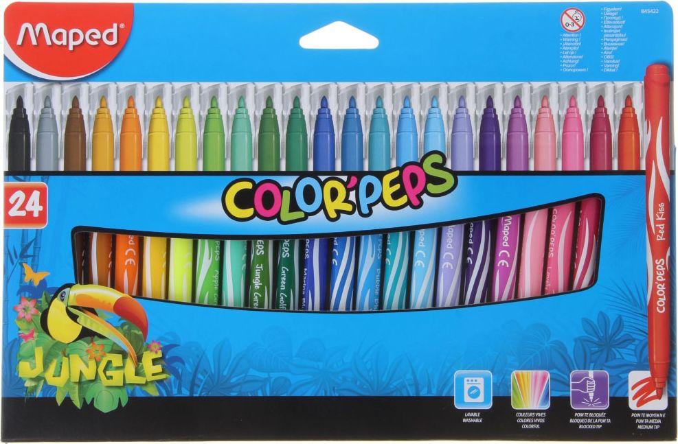 Набор фломастеров Jungle смываемые 24 цвета
