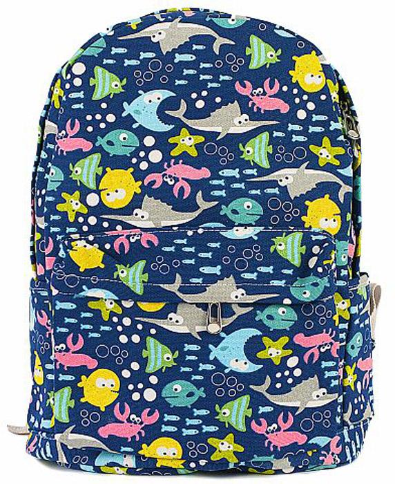 Рюкзак женский Kawaii Factory Рыбы, цвет: темно-синий. KW102-000308 колье kawaii factory metal цвет синий kw091 000110