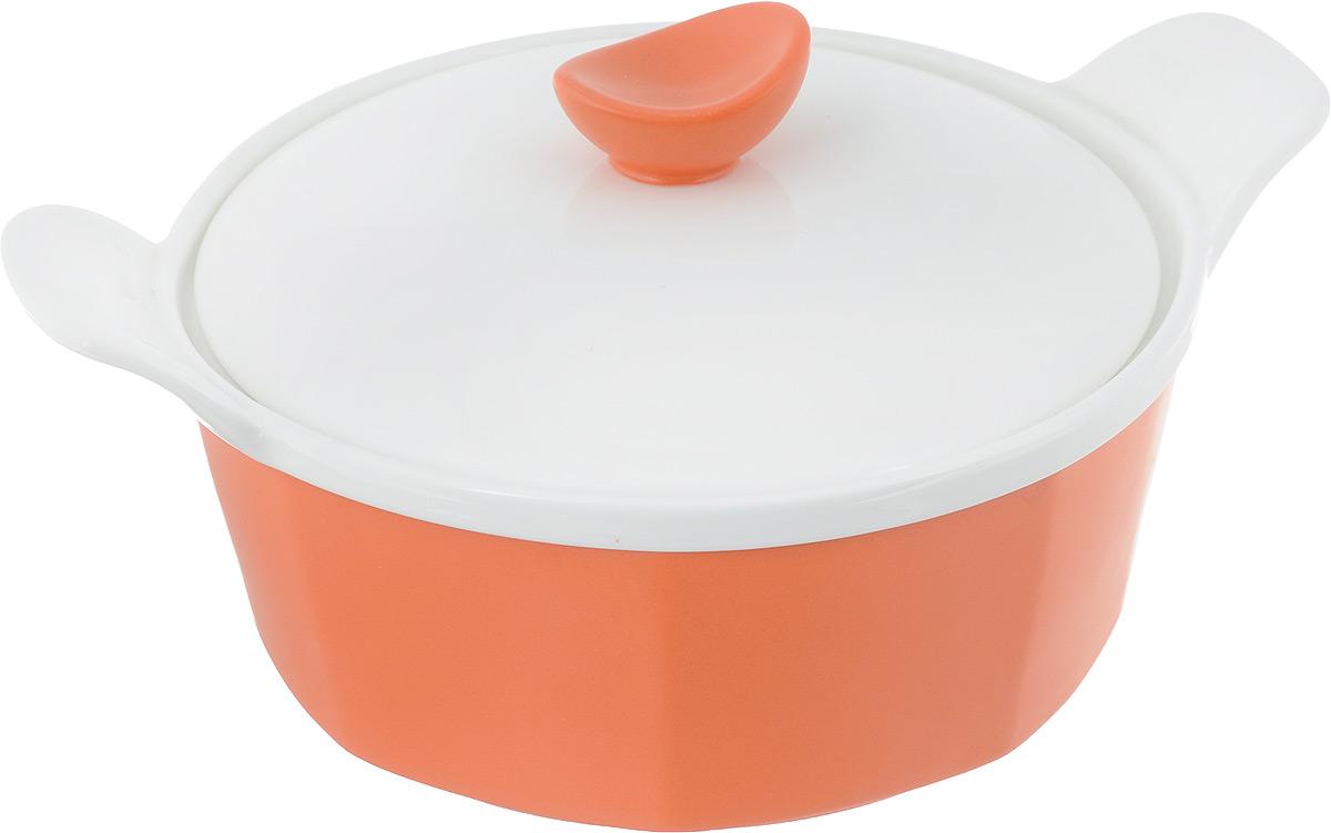 Кастрюля для запекания BartonSteel с крышкой, цвет: оранжевый, белый, 1 л кастрюля для запекания bayerhoff с крышкой в плетеной корзине керамическая 0 9 л bh 161