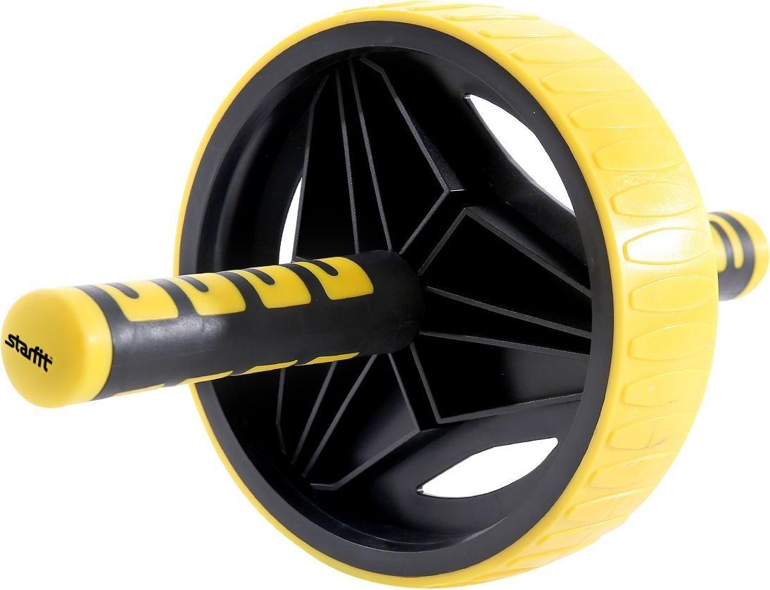 Ролик для пресса Starfit RL-105, цвет: черный, желтый ролик для пресса kettler цвет голубой 29 х 18 см