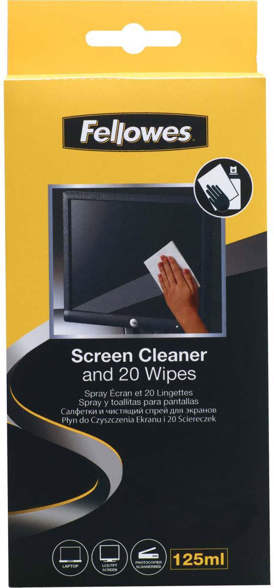 Fellowes FS-99701 набор для чистки экранов: чистящий спрей, абсорбирующие салфетки, 20 шт