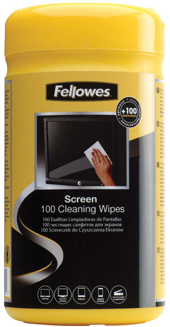 Fellowes FS-99703 салфетки для экранов, 100 шт влажные салфетки fellowes fs 22117 100 шт