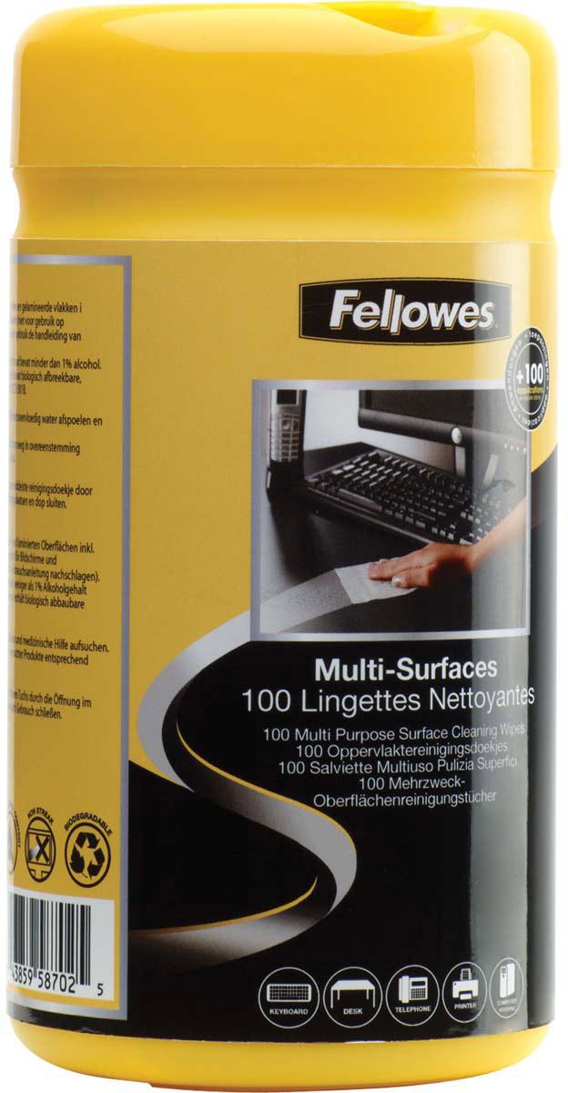 Fellowes FS-99715 салфетки для любых поверхностей, 100 шт влажные салфетки fellowes fs 22117 100 шт