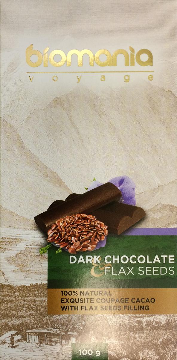 Biomania Voyage темный шоколад с урбечом из семян льна, 110 г биопродукты купить