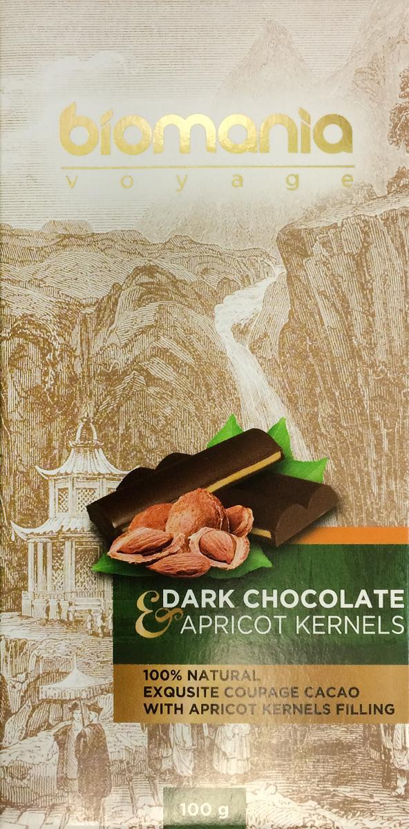 Biomania Voyage темный шоколад с урбечом из абрикосовой косточки, 100 г биопродукты купить