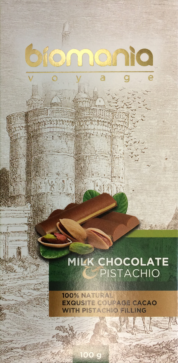 Biomania Voyage молочный шоколад с урбечом из фисташки, 100 г биопродукты купить
