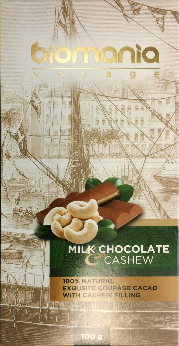 Biomania Voyage молочный шоколад с урбечом из кешью, 100 г биопродукты купить