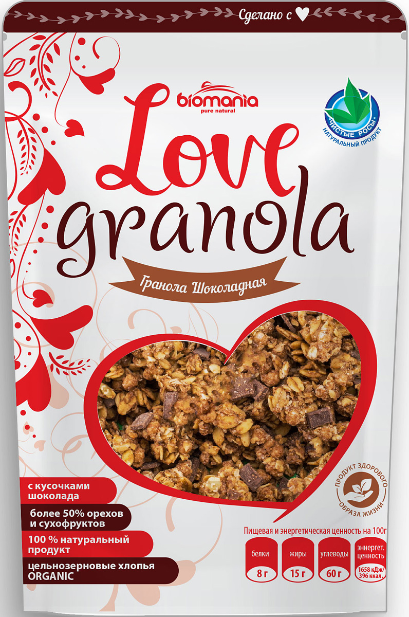 Biomania Love Granola гранола шоколадная, 360 г