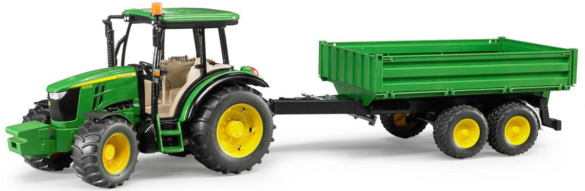 Bruder Трактор John Deere 5115M с прицепом игрушка bruder john deere 1210e трактор с прицепом манипулятором и брёвнами 02 133
