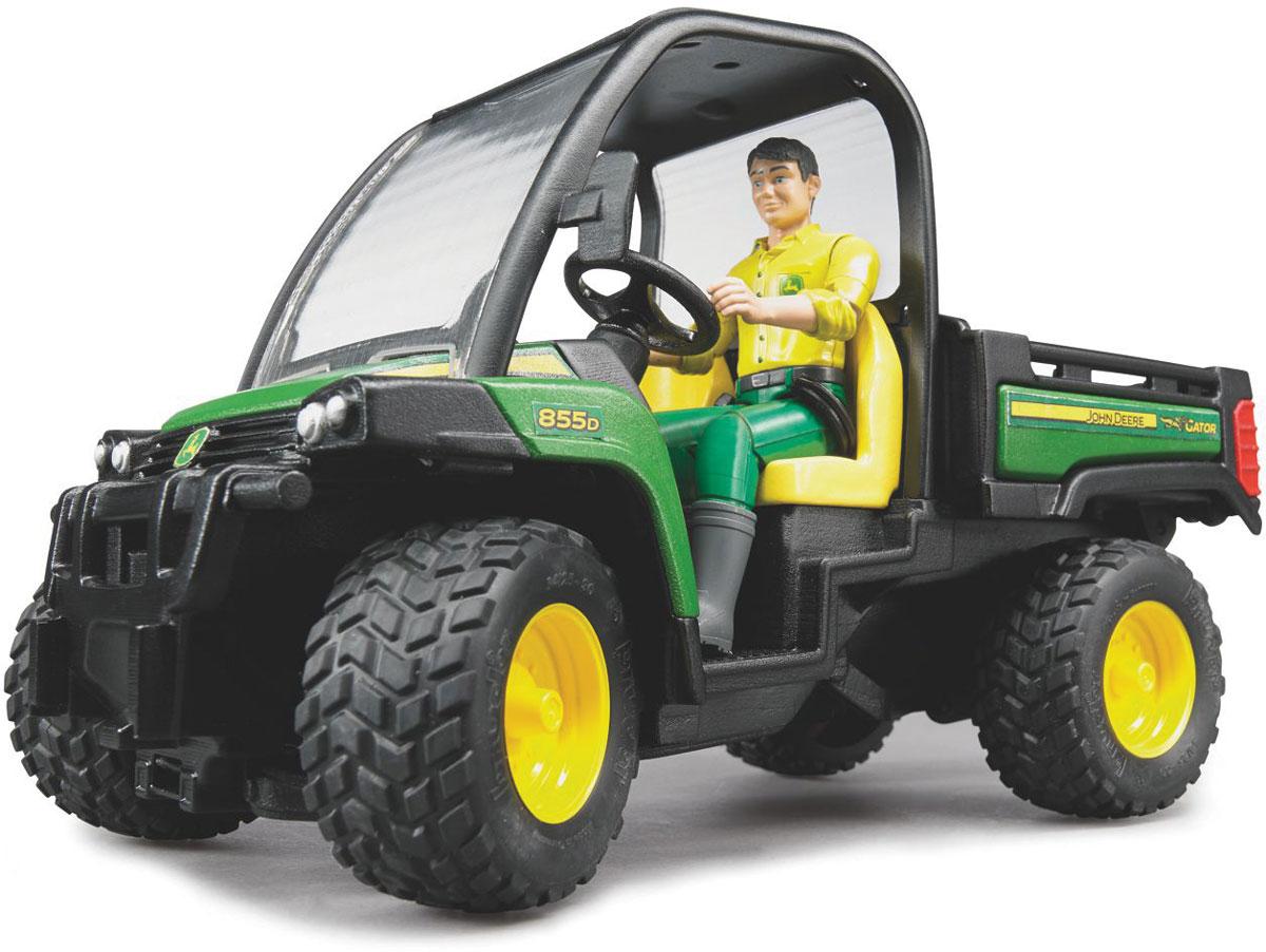 Bruder Мини-самосвал John Deere Gator XUV 855D с фигуркой водителя игрушка bruder mb sprinter скорая помощь с фигуркой водителя 02 536