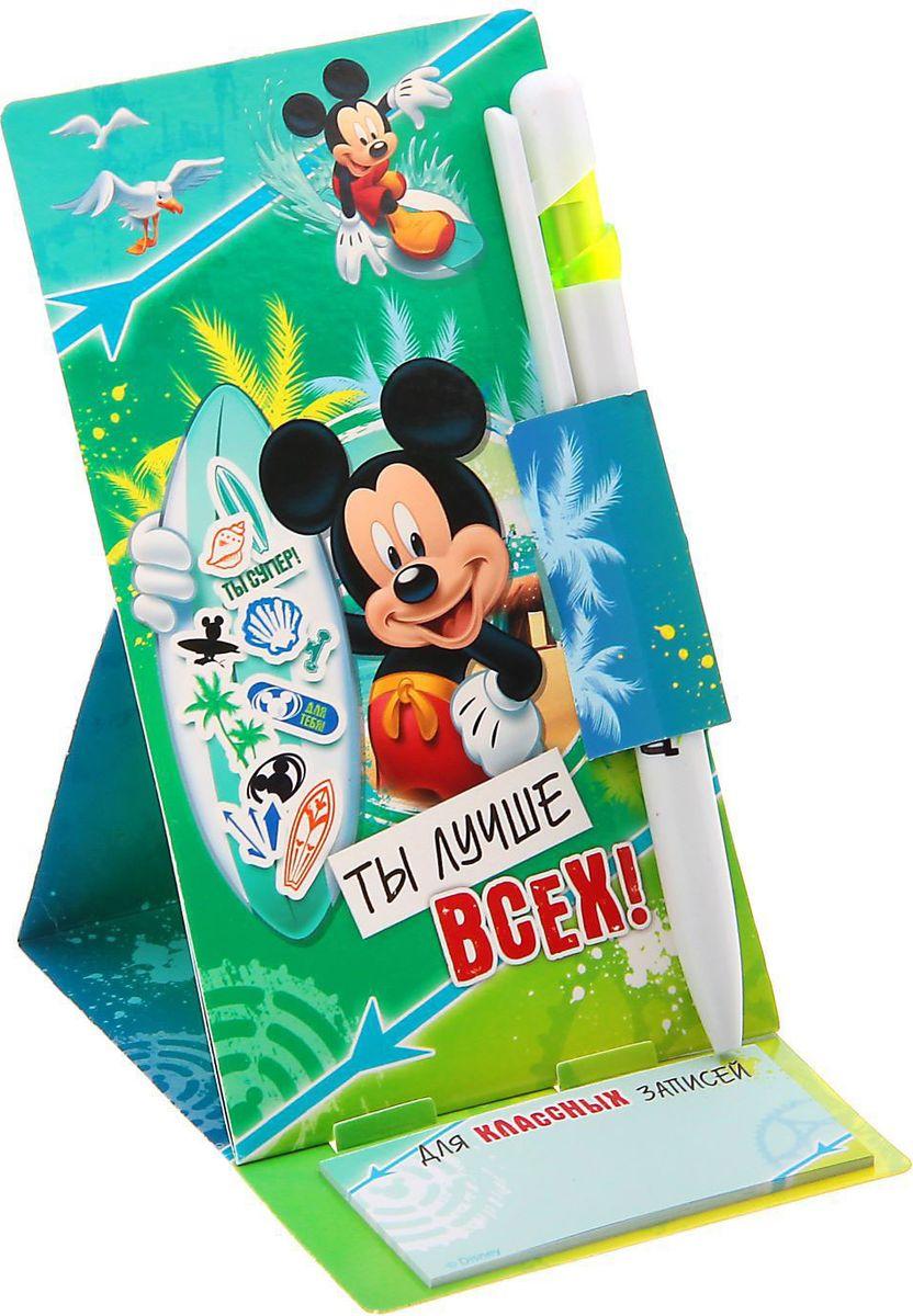 Disney Ручка пластиковая Ты лучше всех Микки Маус на открытке с блоком для записей синяя disney блокнот микки маус ты лучше всех 60 листов