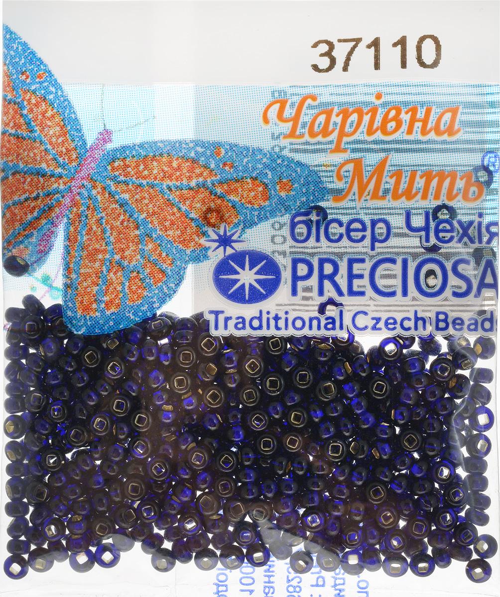 Бисер Preciosa, с серебристой серединой, цвет: темно-синий (37110), 10/0, 5 г