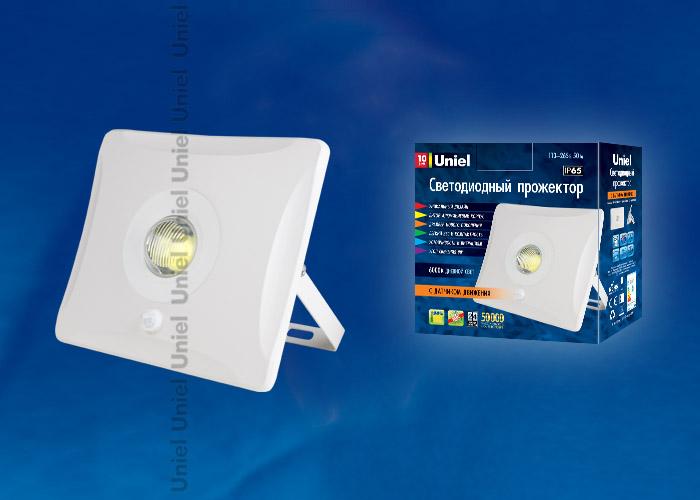 Прожектор светодиодный (UL-00000781) Uniel 10W 6000K ULF-F31-10W/DW SENSOR IP65 100-265В WHITE tw l0506 ufo body sensor lights white
