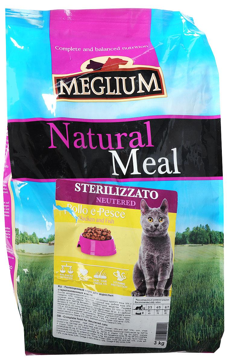 Корм сухой Meglium Neutered для стерилизованных кошек, с курицей и рыбой, 3 кг meglium сухой корм meglium adult для привередливых кошек с курицей и индейкой 1 5 кг
