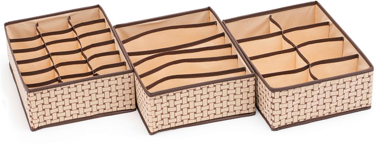 Набор органайзеров Homsu Ностальгия, 31 х 24 х 11 см, 3 шт набор органайзеров для хранения обуви homsu на 8 пар 51 х 25 х 12 см 2 шт