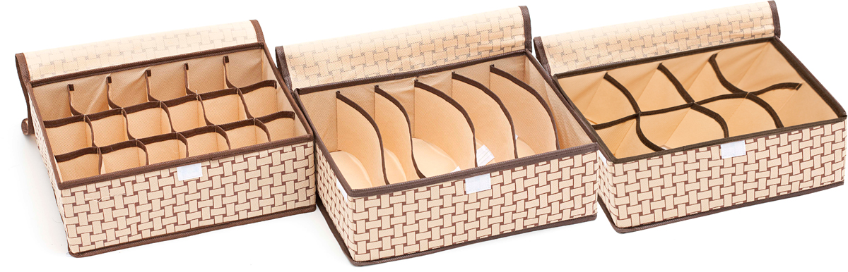 Набор органайзеров Homsu Ностальгия, с крышкой, 31 х 24 х 11 см, 3 шт набор органайзеров для хранения обуви homsu на 8 пар 51 х 25 х 12 см 2 шт
