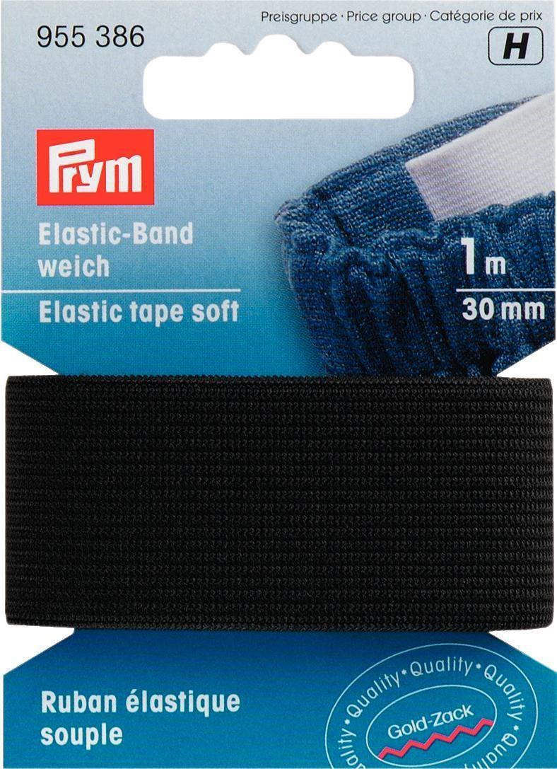 Лента эластичная Prym, цвет: черный, ширина 30 мм, длина 1 м лента самоклеющаяся prym двухсторонняя цвет прозрачный 6 мм 9 м