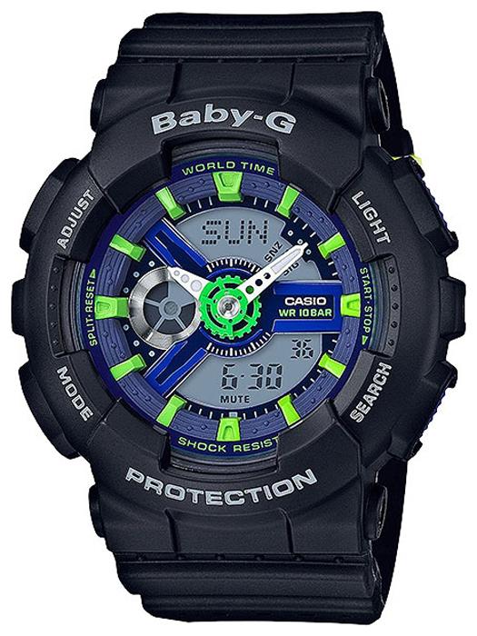 Наручные часы женские Casio Baby-G, цвет: черный, зеленый. BA-110PP-1A все цены