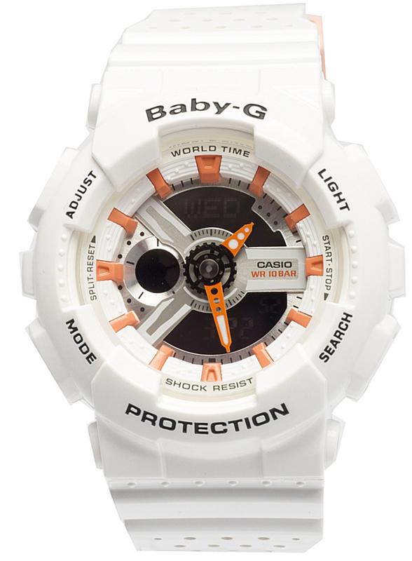 лучшая цена Наручные часы женские Casio Baby-G, цвет: белый, оранжевый. BA-110PP-7A2