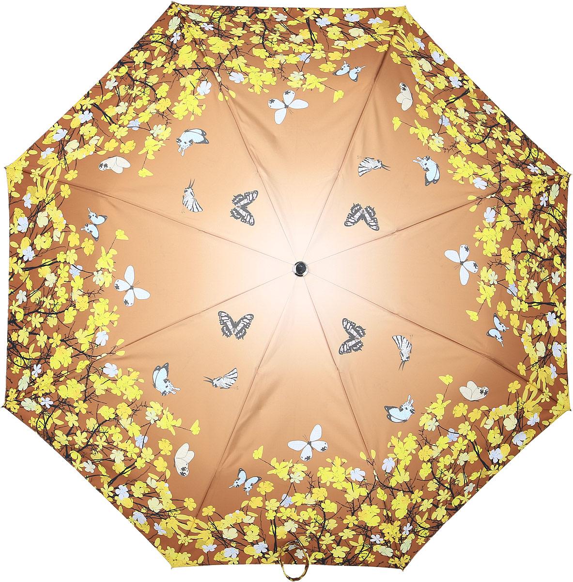 Зонт женский Stilla, автомат, 3 сложения, цвет: коричневый, желтый. 741/1 midi зонт stilla 680auto 1 светло коричневый