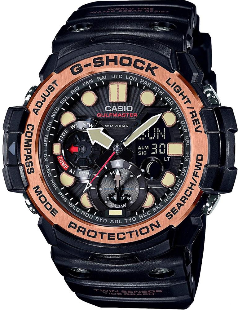 Наручные часы мужские Casio G-Shock, цвет: черный, золотистый. GN-1000RG-1A цена и фото