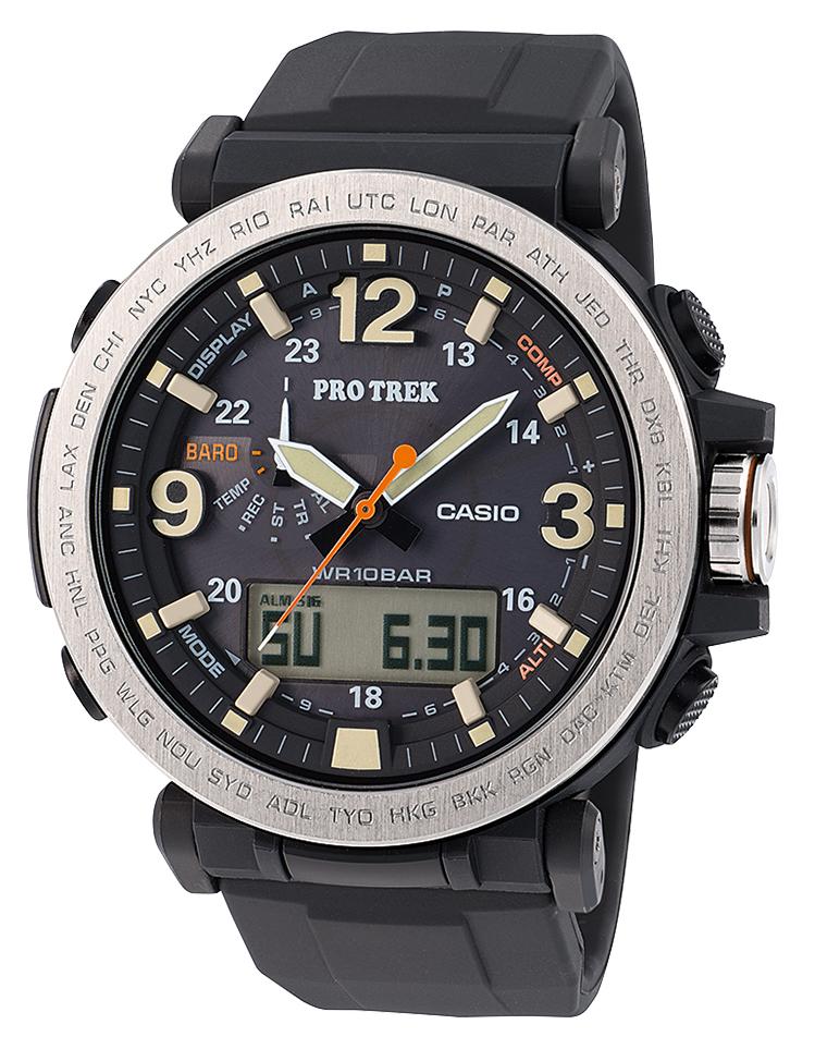 цена Наручные часы мужские Casio Pro Trek, цвет: черный, стальной. PRG-600-1E онлайн в 2017 году