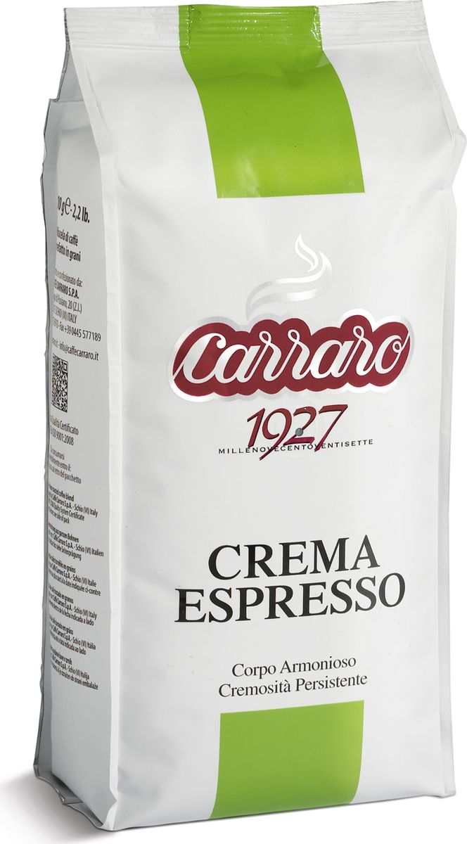 Carraro Crema Espresso кофе в зернах, 1 кг jardin crema кофе в зернах 1 кг промышленная упаковка