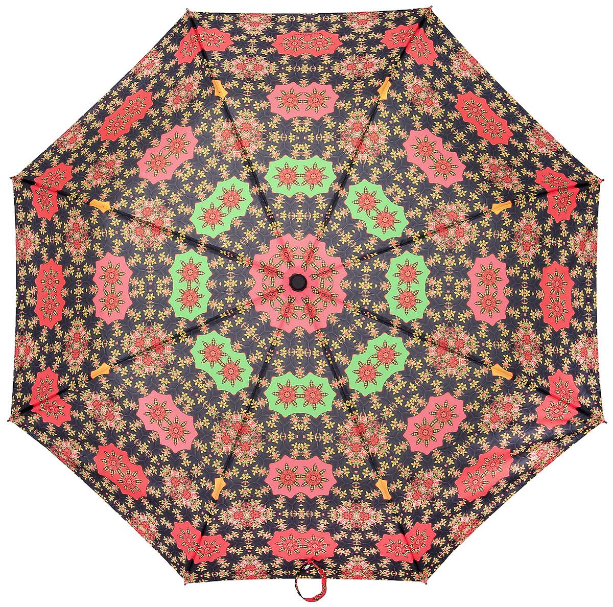 Зонт женский Slava Zaitsev, автомат, 3 сложения, цвет: черный, оранжевый, зеленый. SZ-073 зонт slava zaitsev