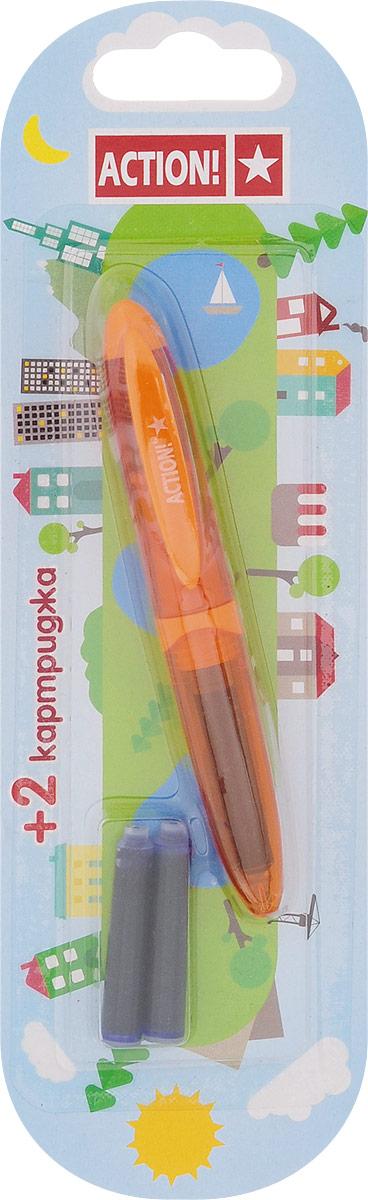 Action! Ручка перьевая с двумя картриджами цвет корпуса оранжевый AFP1037