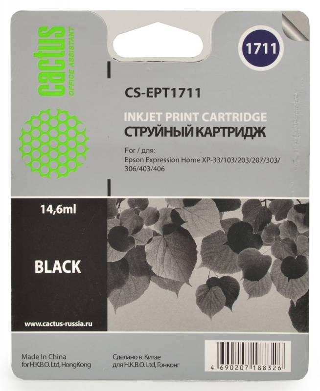 Cactus CS-EPT1711, Black струйный картридж для Epson Expression Home XP-33/103/203/207/303/306/403/406