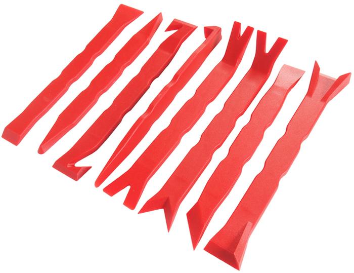 JTC Набор съемников для демонтажа облицовочных панелей, 8 предметов. JTC-5326JTC-5326В комплект JTC входят съемники различных типов. Уникальная форма инструментов позволяет легко демонтировать различные клипсы, панели и прочие пластиковые элементы приборной панели не повреждая поверхность. Материал: стеклонейлон. Габаритные размеры: 320 x 255 x 40 мм. (Д/Ш/В) Рекомендуем!