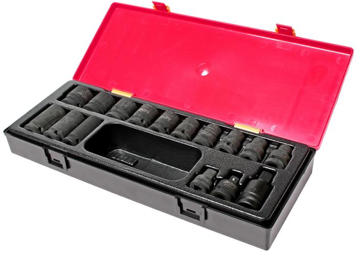 JTC Набор головок торцевых ударных 6-гранных 1/2, 16 предметов. JTC-K4161 jtc набор головок торцевых ударных 3 8 19 предметов jtc k3191