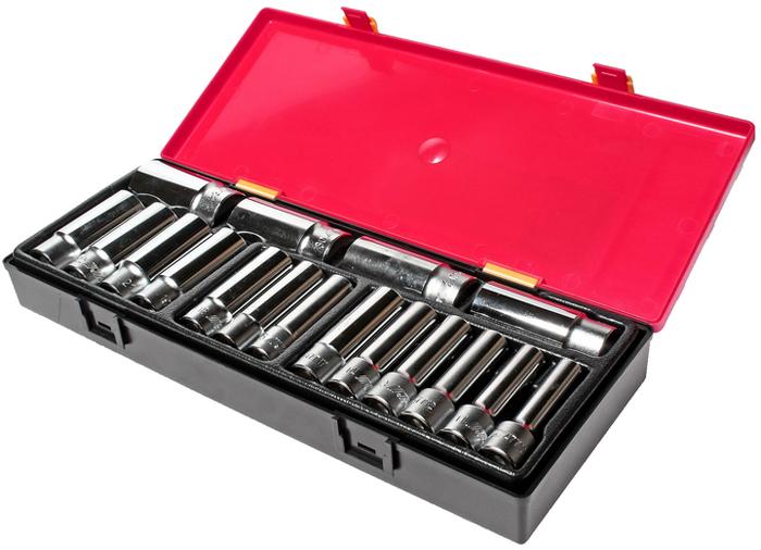 Набор головок торцевых JTC глубоких, 12-гранных, 1/2, 17 шт. JTC-K4172 набор внутренних зубчатых головок 1 2 10шт jtc 5432