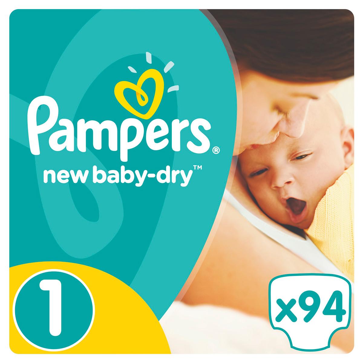 Pampers Подгузники New Baby-Dry 2-5 кг (размер 1) 94 шт